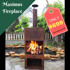 Outdoor Fireplace Free Standing Sturdy Steel Furness Chiminea Flue Cooking Gr...
