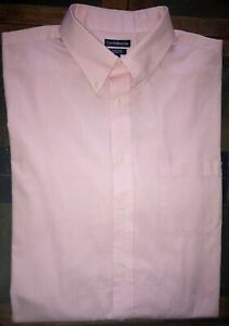 Mens Croft & Barrow Easy Care Classic Fit Pink Button Up Shirt Size 17 1/2 32-33