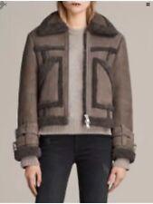 AllSaints Asher Shearling Biker aviator jacket Leather sheepskin SMALL RRP £750