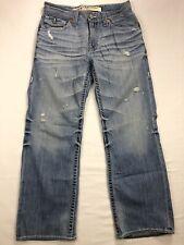 Big Star Pioneer Pocket Flap Mens 30x30 Distressed Blue Denim Thick Stitch Jeans