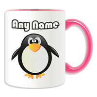 Personalised Gift Fat Penguin Mug Money Box Name Message Cup Coffee Tea Animal