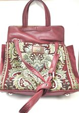 Sharif 1827 Egyptian Gold Embroidery Tote Satchel Carpet Hand Bag Red Leather