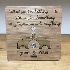 Personalised Engraved Oak Plaque 5 Yr Anniversary Wood Gift Cute Elephants