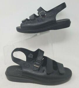 Propet Breeze Womens 8.5 X Black Leather Adjustable Straps Comfort Sandals W0001
