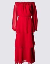 M&S PER UNA RED COLD SHOULDER MAXI DRESS SIZE 16