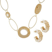 "QVC Golden Embellished Bead 32"" Necklace Hoop Earring Goldtone Set QVC Sold Out!"