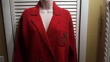 LAUREN Ralph Lauren Sport Red Knit Velvet Jacket Blazer Size P Petite