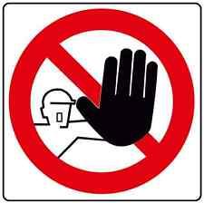 Cartello segnaletica adesivo vietato l'ingresso 12x12cm. Off limits area sticker