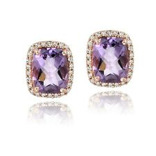 Rose Gold Tone over Silver 4.5ct Amethyst & White Topaz Rectangle Stud Earrings