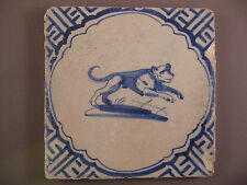 Antique Dutch Delft Tile Animal Tiles Rare 17th century - free shipping