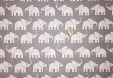 Baumwolle Stoff Elefant weiße Elefanten auf grau Meterware Deko Stoffe 🐘