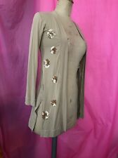 Women Girls Used Beige Cardigan With Gold Sequin Age 11 Also Fits Women Size 10