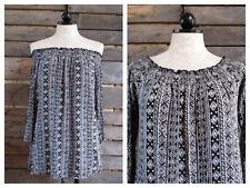 Off Shoulder Black and White Tribal Print Boho Rayon Top Shirt Hippie Medium