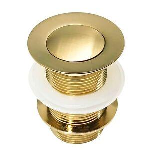 Basin Waste Sink Pop Up Push Button Click Clack Plug Unslotted Bath Brushed Gold