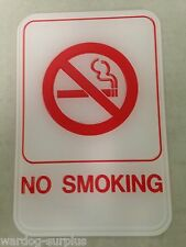 "No Smoking - ADA Braille Compliant - 6"" x 9"" - White and Red Tactile 3D Business"