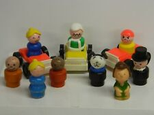 EARLY LITTLE PEOPLE Figures x 9 + 3 Jeeps (3 of the Figures are Wooden) L@@K\