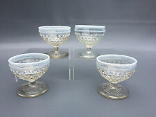 4 MOONSTONE footed glass sherbet cups, Anchor Hocking Glass Co. 1941 - 1946