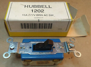 Hubbell 1202 15A, 2-Pole, Up to 277VAC, Brown Wall Switch