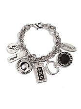NWT Guess Silver Metal-Clear Rhinestones Black Enamel Multi-Charms Bracelet