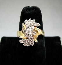 Vintage 14K White & Yellow Gold Diamond Cluster Flower Cocktail Ring Modernist