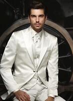 Custom Made Groom Tuxedos Men's Suit Ivory Groomsman/Best Man Wedding/Prom Suits