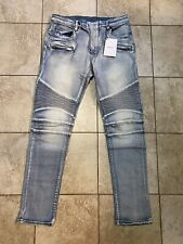 Balmain Paris Biker Denim Jeans Zipper Pocket Distressed Moto Skinny Fit Men 36