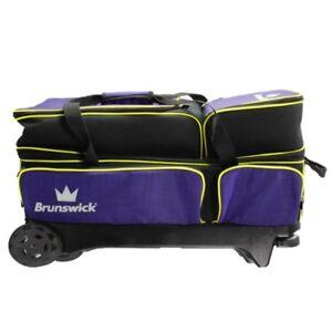 Brunswick Crown Purple/Lime 3 Ball Roller Bowling Bag