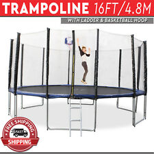 Trampoline with Ladder Basketball Hoop Safety Net Enclosure Round Mat 16FT/4.8M