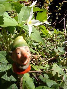 """little antique elf~gnome~ """"head"""" for your planter! ceramic bottle stopper~garden"""