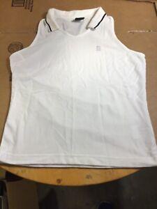 Nike Dri Fit Golf Shirt Size Medium Women  White With Blue Stripe in EUC