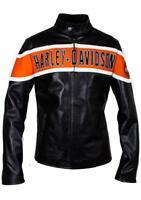 Harley Davidson Hombre Moteros Chaqueta de Cuero Auténtico Victory Carril Moto