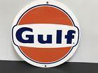 Gulf gasoline racing vintage sign round