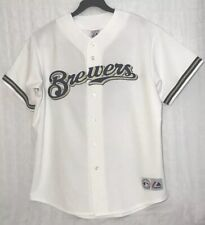 Milwaukee Brewers Prince Fielder Jersey Adult XL White Majestic Sewn
