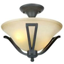 """Commercial Electric 13"""" 2-Lt. Rustic Iron Semi-Flush Mount w/Antique Ivory Shade"""