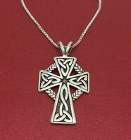 Sterling Silver Celtic Cross Necklace solid 925 pendant and chain Circle weave