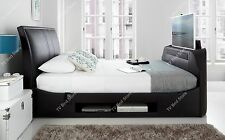"""Maximus Black Leather Multi Media King Size TV Bed Frame Holds A 43"""" TV"""