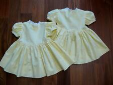 2 Vintage Twin Childrens Baby Girl Cotton Lemon Yellow Dresses