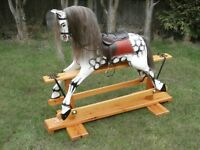 """WOODEN VICTORIAN STYLE ROCKING HORSE CHESTNUT FILLY 41"""" SUIT 3 TO 9 YEARS"""