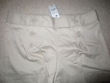 NEW WOMENS EXPRESS BEIGE TAN SATEEN CUFFED SHORTS WITH DOUBLE SIDE BUTTONS SZ 10