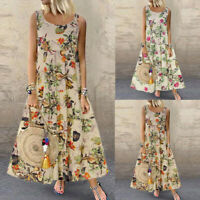 Sexy Women Plus Size Bohe O-Neck Floral Print Vintage Sleeveless Long Maxi Dress