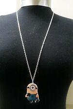 "Necklace 30"" Long silver Tone Chain A Large Minion Despicable Me Charm Pendant"