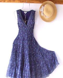 New~$138~Blue & Green Peasant Prairie Tiered Spring Boho Dress~Size Medium M