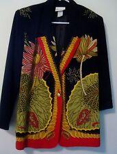 JACKET Dressy Silky by Jordana Gorgeous Lily Pads Print on Black Sz Small