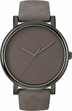 TIMEX ALL GRAY,SUEDE LEATHER BAND,BIG ROUND DIAL, INDIGLO, CLASSIC WATCH-T2N795