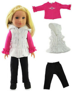 """Puffer Vest,Top,& Leggings fits 14.5"""" American Girl Wellie Wishers Doll Clothes"""