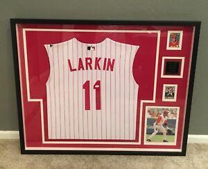 BARRY LARKIN Framed Autographed Jersey JSA