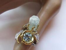 ARTISAN CRAFTED ALL NATURAL AQUAMARINE & BLUE TOPAZ RING 2-TONE 925 STERLING SIL