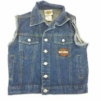 Harley Davidson Denim Jean Vest Youth 5 Kids Logo Embroidered Kids Jacket