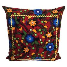 """Floral Flannel (Red) 18x18"""" Home Decorative / Throw Pillow Case / Cushion Cover"""