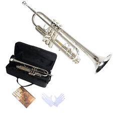 New Silver Beginner Bb Brass Trumpet with Case Mouthpiece Musical Instrument